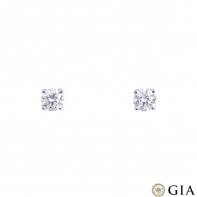 White Gold Diamond Stud Earrings 0.82ct TDW F/VS1